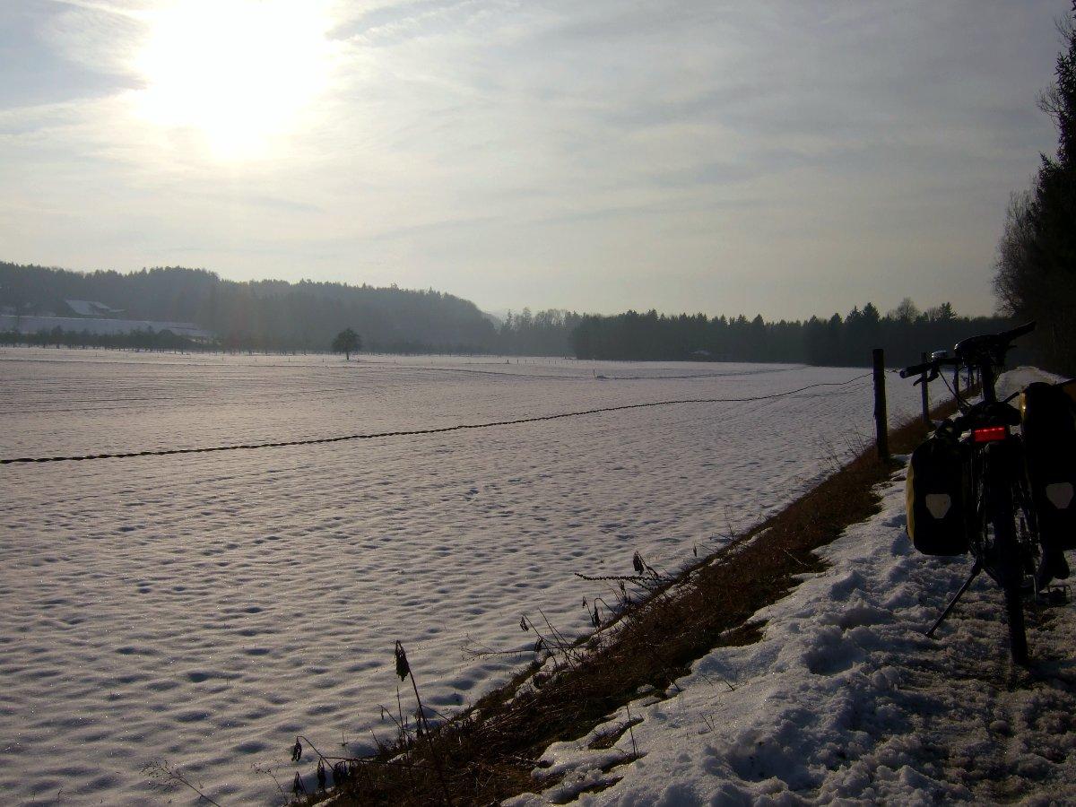 Der Radweg entlang der Thur, spätnachmittags im Januar.