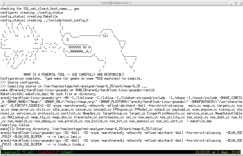 Der ASCII-Art-Warnhinweis beim Kompilieren von nmap.