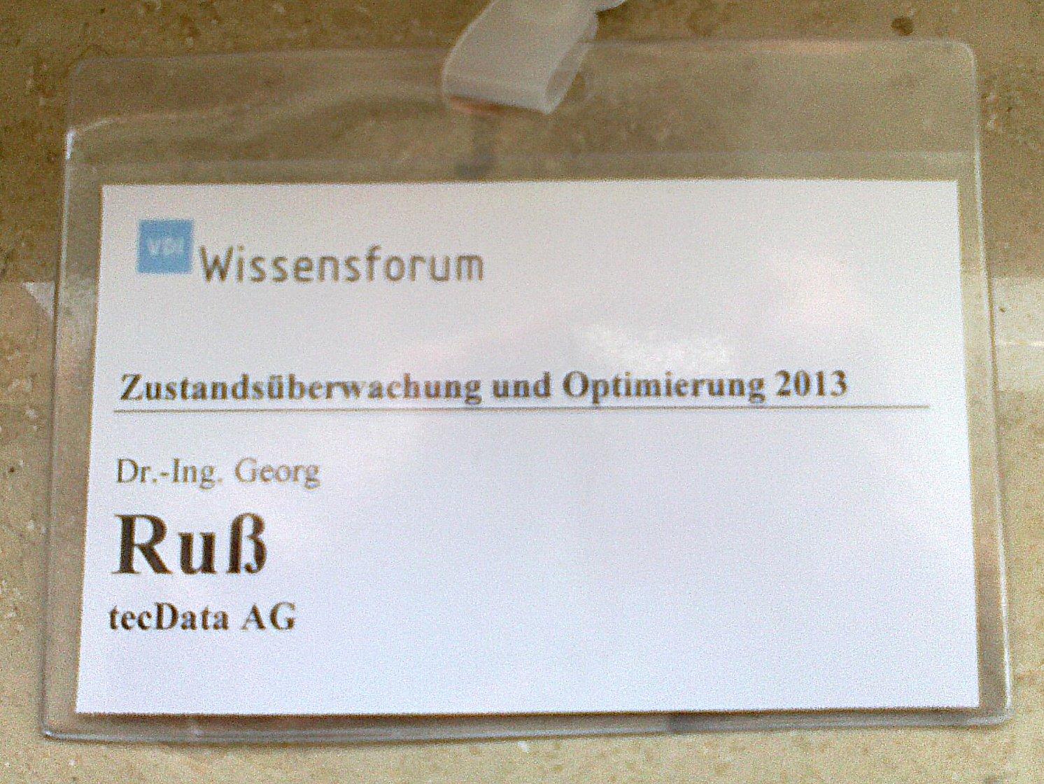 VDI-Namensschild: wichtig ist der Nachname, pffff...