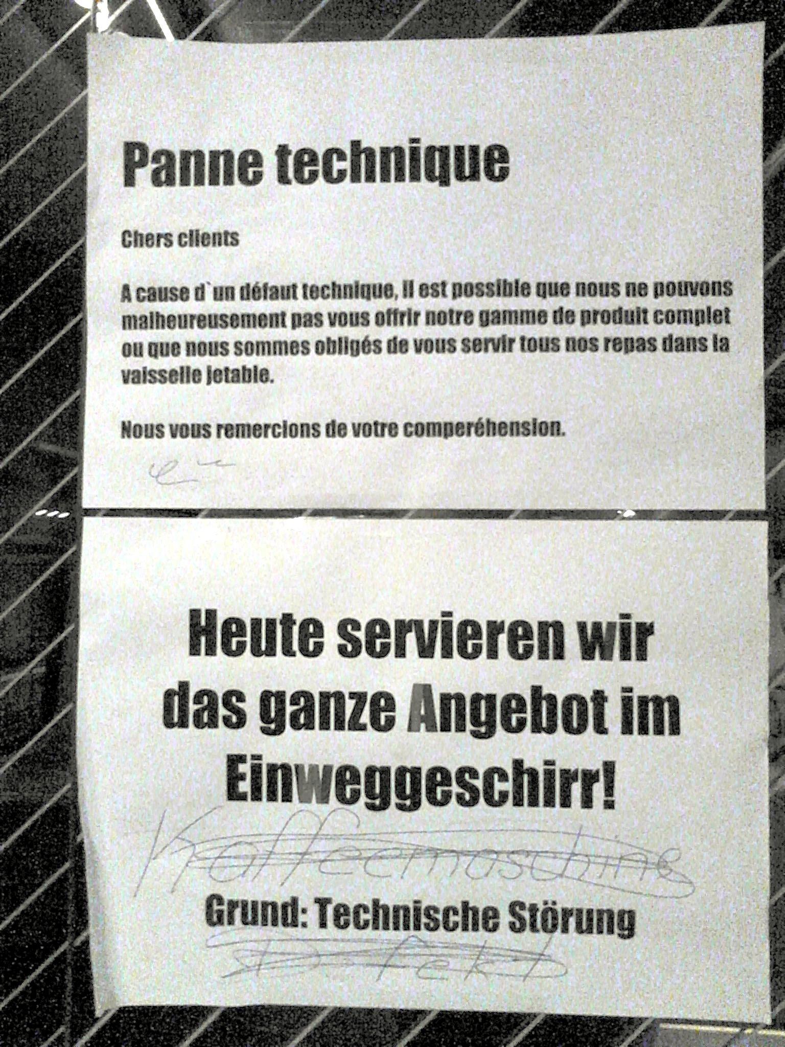 Zweisprachige CFF/SBB-Entschuldigung, inklusive Tippfehlern