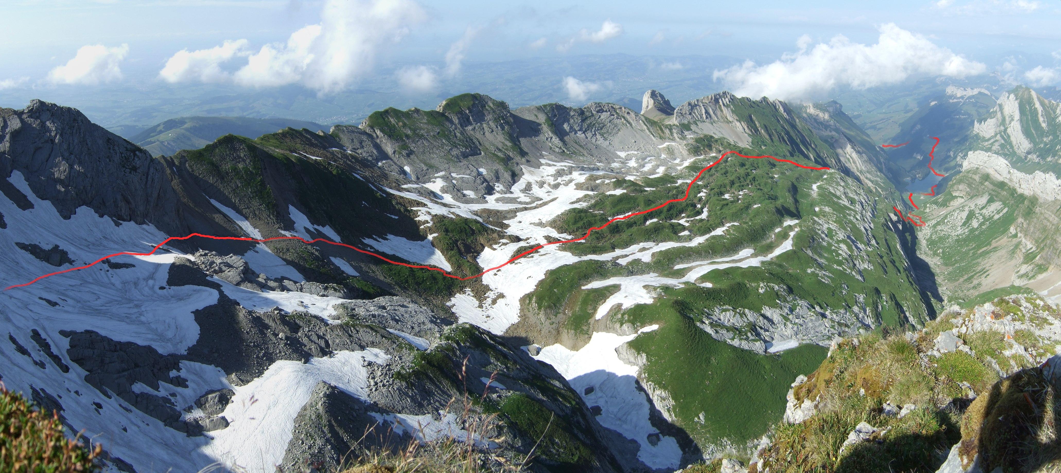 Die Wegstrecke von heute mal ungefähr im Foto eingezeichnet.