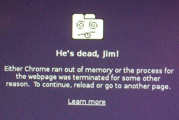 Fehlermeldung von Google Chrome