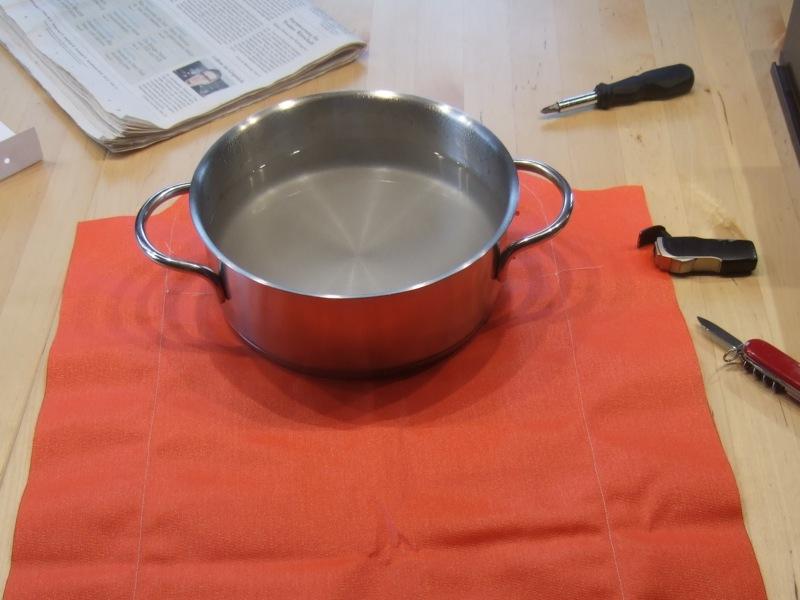 Seamgrip wird verklebt (heisses Wasser im Topf)