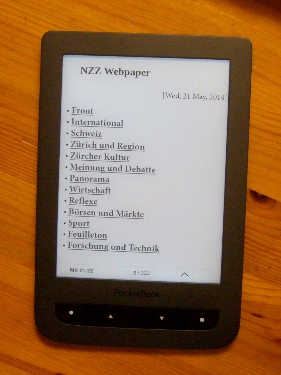 NZZ Webpaper auf dem Pocketbook Touch Lux 2