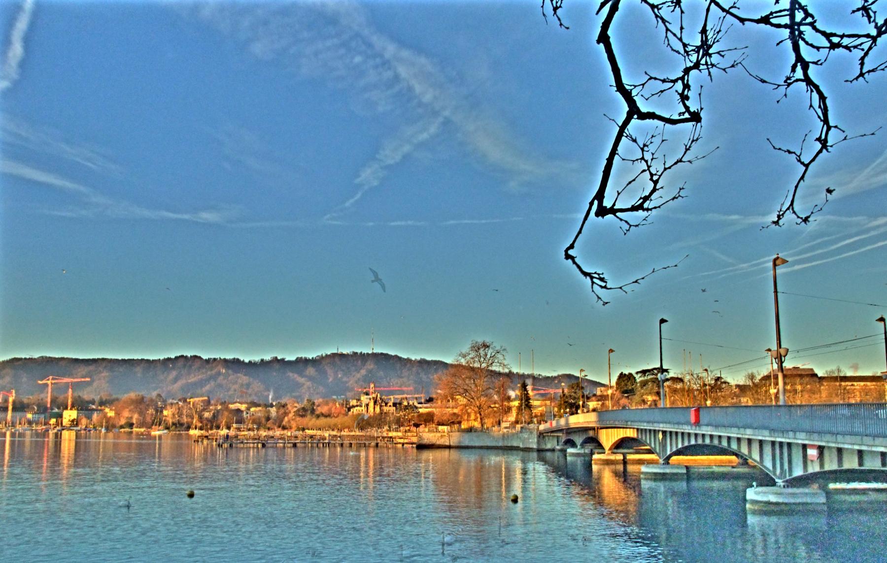 Der Uetliberg in der Morgensonne des 23. Dezember