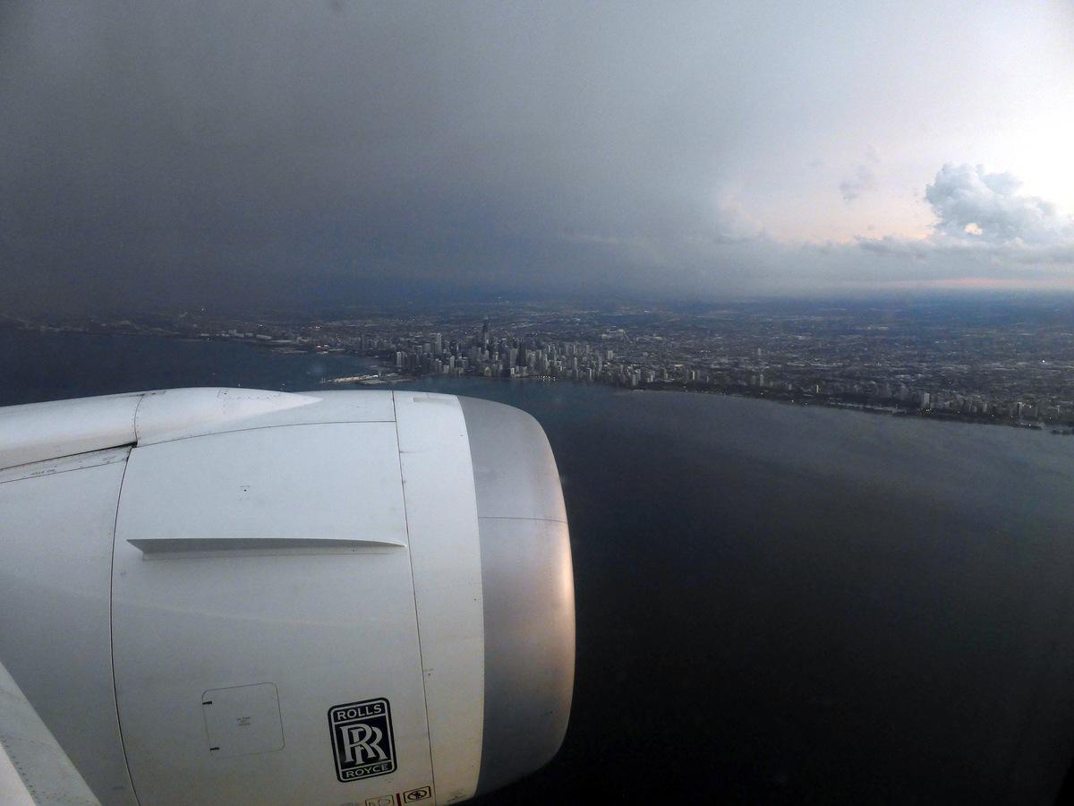 Landeanflug auf Chicago O'Hare (ORD). Hier ist Rolls Royce sinnvoll.
