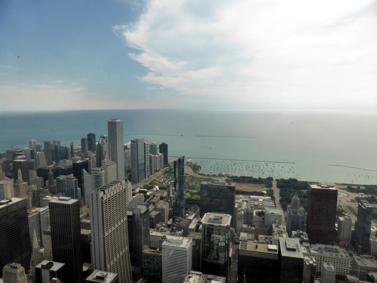 Aussicht über Chicago und den Lake Michigan (Smog vorhanden, nicht abgebildet)