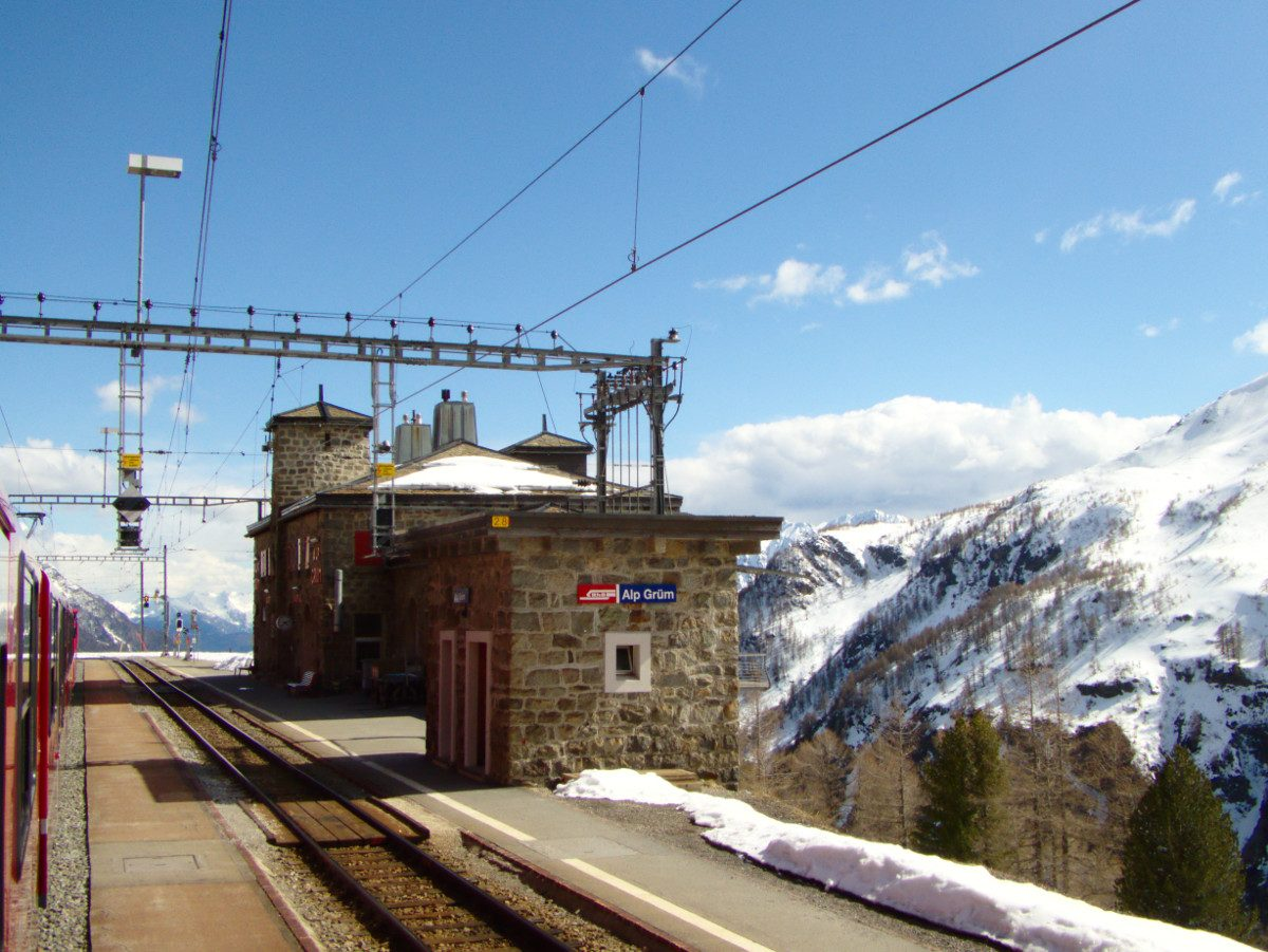 Bahnhofsfotos Lago Poschiavo / Berninalinie